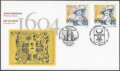 FRANCE - CANADA = JOINT issue OFDC = FDC = 2004 #3032 / #2044