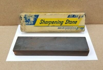 "Vintage Bear Brand Sharpening Stone Oil Filled 4""x1""x1/2"" With Original Box"