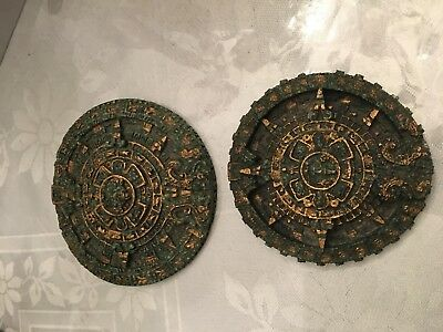 Vintage Mexican Aztec Calendar Crushed Stone - 2