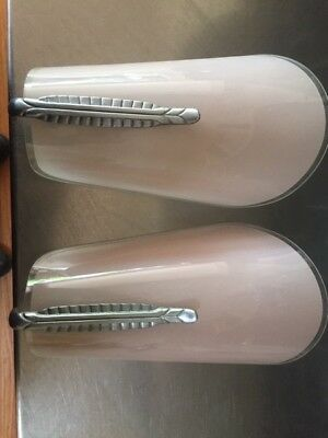 Pair of original art deco wall sconce with chrome detail