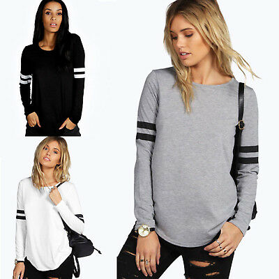 US Womens Lady Casual Loose Long Sleeve Blouse Tops Shirt Pullover Winter Autumn
