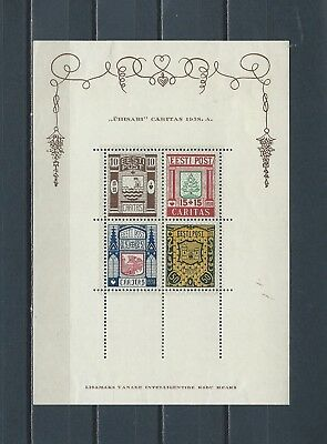 ESTONIA #B39a,1938 mint stamp sheet - see scans