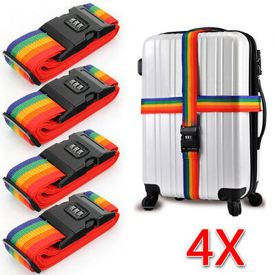 4X Travel Luggage Suitcase PASSWORD Secure LOCK Durable Nylon Packing Strap Belt