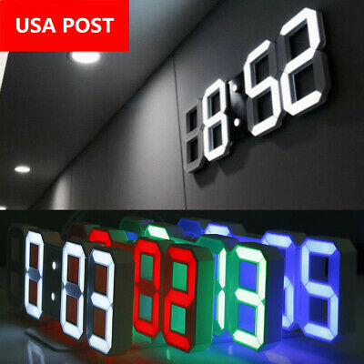 3D Dimmer LED Digital Alarm Clocks USB Battery Wall Table 24/12 Hour Snooze US