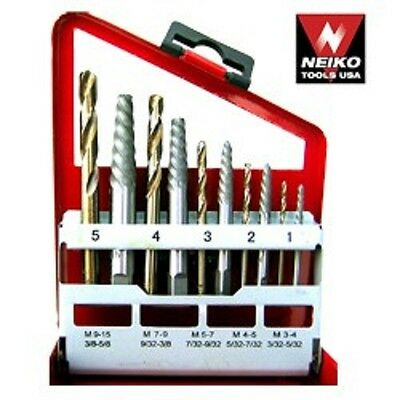 Neiko 10 Pc Extractor/Right-Hand Drill Bit Set -Easy Out Broken Bolt