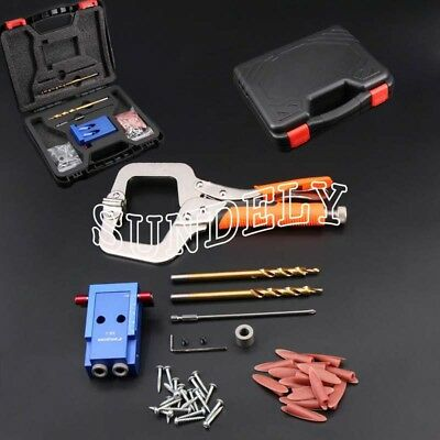 Pocket Hole Drilling Jig Kit + Step Bit Woodworking Joinery Tool For Kreg System