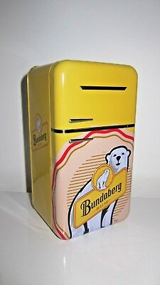 Bundaberg Rum Collectable Yellow Tin Fridge Shaped Container Hinged Lid