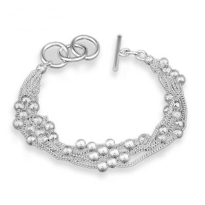 Woman Gift Beads Chain Sterling 925 Silver Bracelet+Necklace Jewelry Set SE50