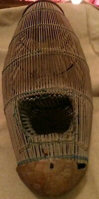 Antique 1800's Coconut Wood Minnow Fishing Trap Native American Old Pawn