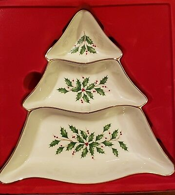 Lenox Holiday Dimension Collection Tree 3 Divided Server New In Box Gold Rimmed