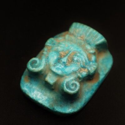 Rare Ancient Egyptian Large Faience Amulet Queen Tiye Figurine, 1398 - 1338 BC
