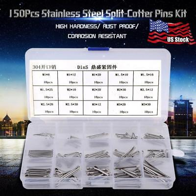 150Pcs 15 Kinds Stainless Steel Split-Cotter Pins Kit Hardware Fasteners M1-M3