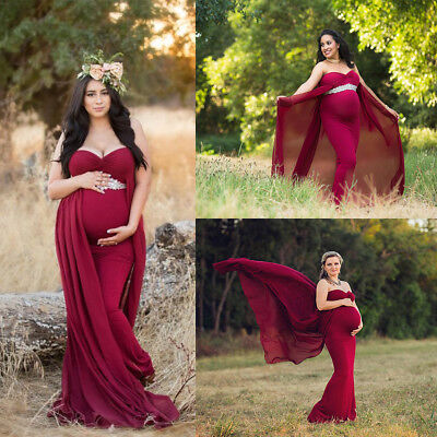 Pregnant Women Cotton Chiffon Maternity Gown Photo Photography Prop Maxi Dress