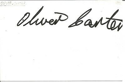 Oliver Carter actor signed white card dedicated in person autograph Z3542