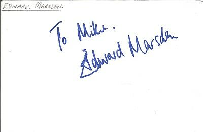 Edward Marsden actor signed white card dedicated in person autograph Z3540