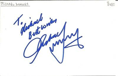 Michael Lunney actor signed white card dedicated in person autograph Z3547