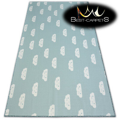 Anti-slip CHILDREN'S CARPET CLOUDS Green Kids Play Area Bedroom Rug ANY SIZE