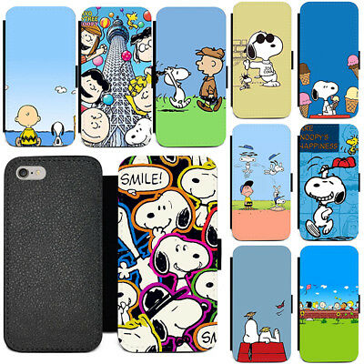 low priced 39bbf a36b5 SNOOPY PEANUTS for Leather Flip iPhone Samsung Galaxy and Huawei ...