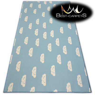 Anti-slip CHILDREN'S CARPET CLOUDS Blue Kids Play Area Bedroom Rug ANY SIZE