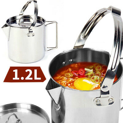 1.2L Stainless Steel Cup Pot Cookware Campfire Cooking Outdoor Camping Hanging