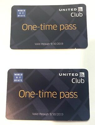 Two (2) United Airlines Club Lounge One-Time Pass Passes. Expires 09/30/2019