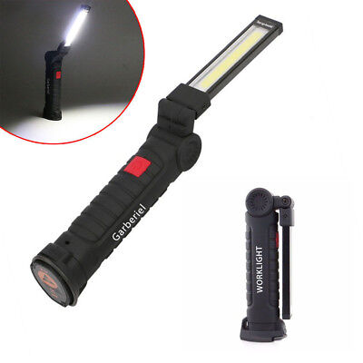 LED COB Rechargeable Magnetic Torch Inspection Lamp Work Light 3 Modes Foldable