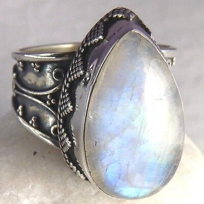 Superb SILVERSARI Granulation Ring US 9.25 Solid 925 Sterling Silver & MOONSTONE