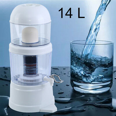 7 Stage Water Filter Ceramic Carbon Mineral Benchtop Dispenser Purifier Top 14L