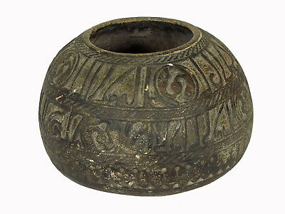 antique Islamic soapstone heavy tool gray stone bowl vessel carved Afghanistan A