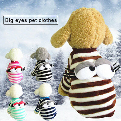 1 Pcs Pet Dog Clothes Cartoon Big Eye Stripes Warm Thicken Durable For Autumn Wi