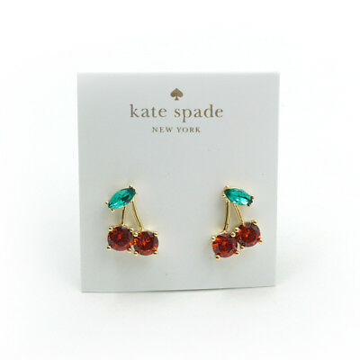 Kate Spade 12k Gold-Plated Cherry Crystal Stud Earrings New $58