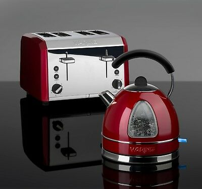 Kettle and Toaster Set Waring Rapid Boil Kettle & 4 Slot Large Toaster Red New