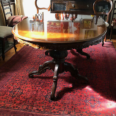 antique style oval dining table with leaf extension