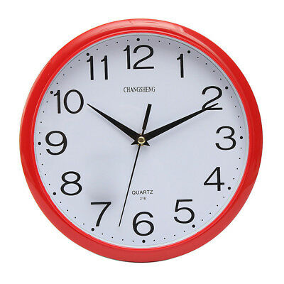 Silent Vintage Modern Round Home Office School Retro Time Wall Clock Decor Red