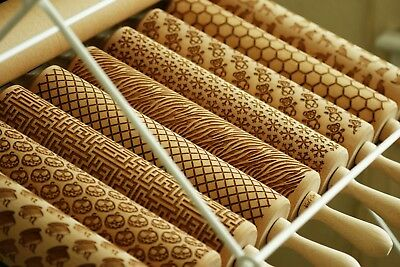 Embossed rolling pin wooden laser cut CHOOSE PATTERN unique design cookies
