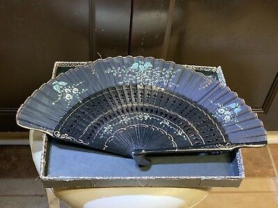 Vintage Japanese Hand Painted Folding Silk Fan Flowers Gold Decoration Gift Look