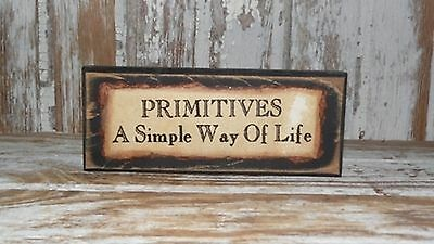 Small Primitive Country PRIMITIVES Wooden Plaque Black Painted New