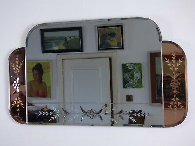 Vintage Retro Art Deco Mirror Small Over Mantle Pink Wings Bevels Flowers Design