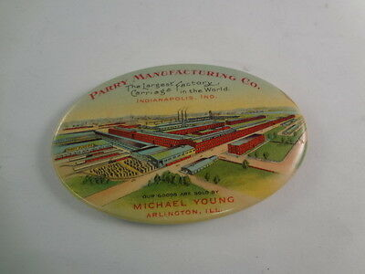 Vintage Advertising Pocket Mirror Celluloid Parry Mfg Carriage Co. 555-P