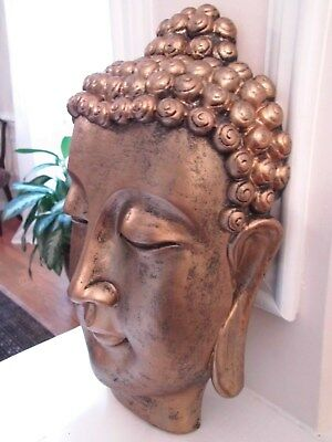 "Buddha Head Wall Art Decor 12.5""T"