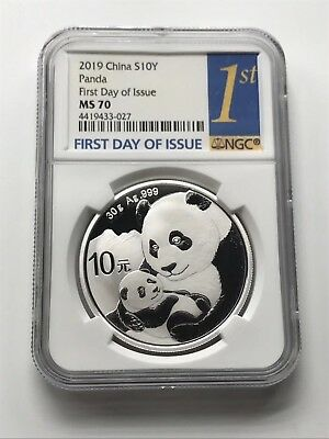 NGC MS70 2019 Silver Panda Coin 30gram First Day Issue & Silk Bag