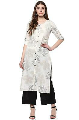 Women's Off White Cotton Straight Floral Print Kurta kurti