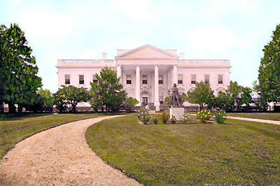 """NORTH LAWN US WHITE HOUSE 1860s WASHINGTON DC 8x12"""" HAND COLOR TINTED PHOTOGRAPH"""