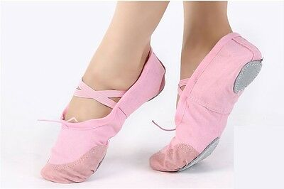 NEW Pink Kid Women Comfortable Canvas Ballet Dance Flat Shoes UK Size 2.5 - 13.5