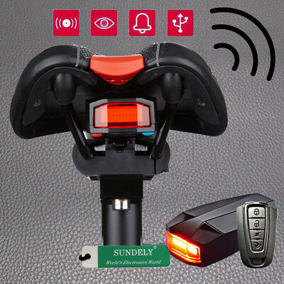 Bike Bicycle Taillight Wireless Remote Control Anti Theft Lock Alarm Security