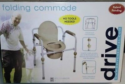 NEW !!  Drive Steel Folding Bedside Commode Safety Chair Portable ATL11148KDR