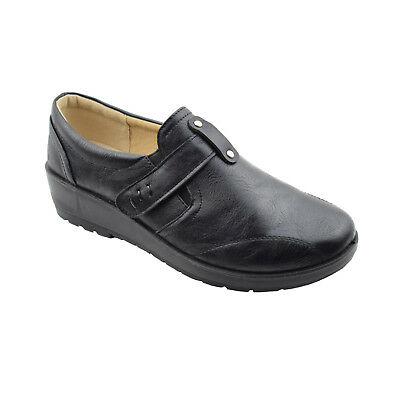 Ladies Womens Lightweight Side Gusset Comfort Black Shoes Sizes 3,4,5,6,7,8,9