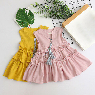 Toddler Kids Baby Girl Outfits Clothes Sleeveless Ruffles Party Princess Dresses