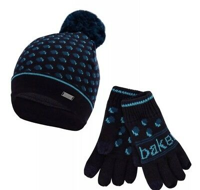 Ted Baker Boys Navy Spot Hat & Gloves Age 7-10