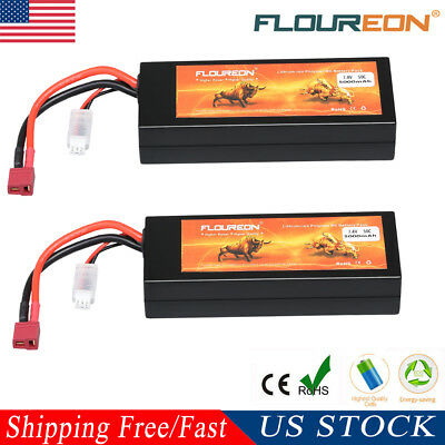 2x 5000mAh 50C 7.4V 2S LiPo Hard Case Battery For RC Car Airplane Buggy Drone US
